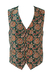 Dark Olive Green Waistcoat with Ochre, Russet & Grey Floral Pattern - M