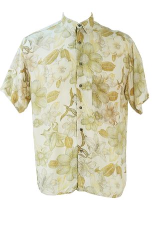 Cream, Ochre & Peach Short Sleeved Shirt with Fine Ink Drawing Floral Print - M/L