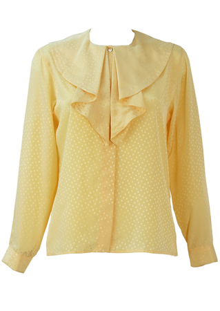 Cacharel Cream Silky Polka Dot Blouse with Frill Collar Detail - S/M