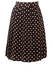 Brown & White Polka Dot, Knee Length Pleated Skirt - S