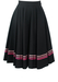 Knee Length Black Rockabilly Circle Skirt with Pink Ribbon Trim - XXS/XS