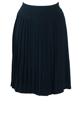 Navy Blue Pleated Knee Length Skirt with Wide Waistband - S