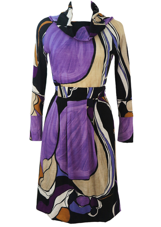 Vintage 70's Two Piece Top & Skirt with Abstract Purple, Black & Beige Pattern - XS/S