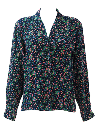 Silk Navy Blue Blouse with Pink, Green & Blue Ditsy Floral Print - L