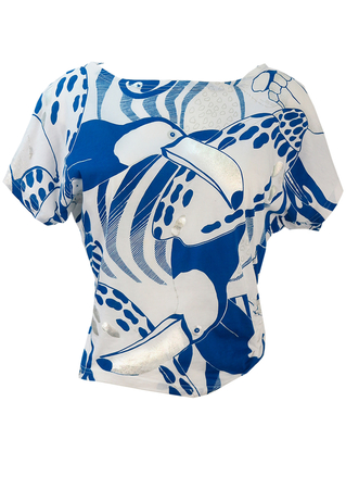 Batwing Short Sleeve White Top with Blue & Metallic Silver Toucan Print - M