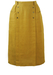 Midi Length Ochre Linen Pencil Skirt with Front Popper Detail - S
