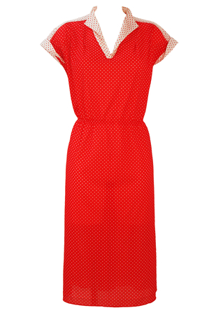 Red and White Polka Dot Midi Dress with Cap Sleeves - L/XL