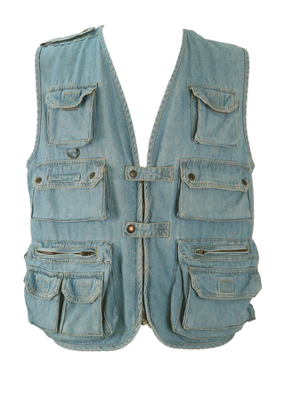 Blue Denim Utility Vest with Multi Pockets - M/L