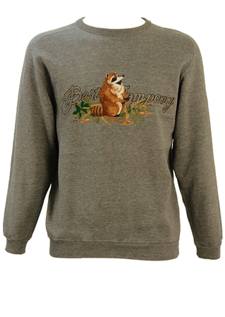 Olmes Carretti Best Company Grey Marl Sweatshirt with Racoon Design - M