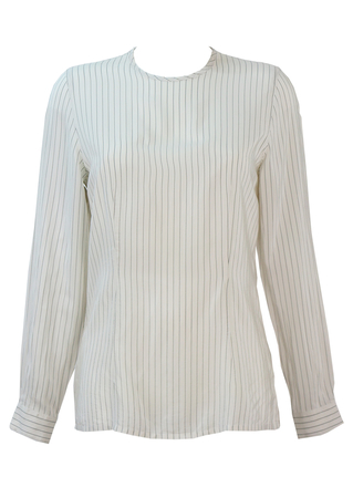 Salvatore Ferragamo White & Grey Fine Pinstripe Silk Blouse - S/M