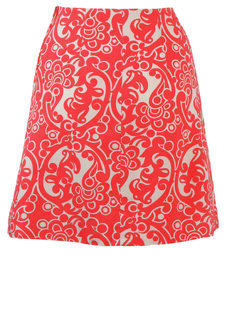 Vintage 60's Coral Pink & White Mini Skirt with Abstract Floral Pattern - S