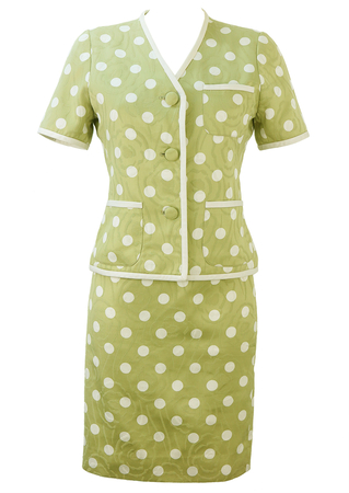 Green & White Polka Dot Short Sleeve Jacket & Skirt Two Piece - S
