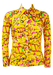 Vintage 60's Yellow Blouse with Abstract Floral Oriental Pattern - XS/S