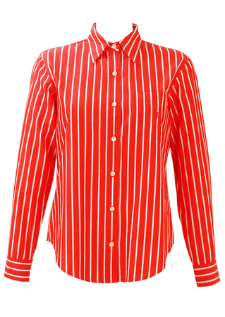 Ralph Lauren Red and White Striped Shirt - S/M