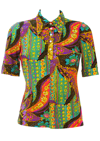 Vintage 60's Short Sleeve Shirt with Multicoloured Psychedelic Print - S