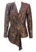 Shimmery Metallic Gold, Green & Purple Paisley Print Asymmetric Jacket - M