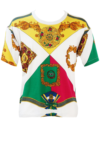White T-shirt with Ornate Yellow, Pink, Green & Gold Baroque Pattern - M