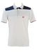 Fred Perry White Polo Shirt with Blue, Grey and Burgundy Stripes - S/M