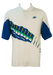White Nike Polo Shirt with Blue, Green & Yellow Abstract Striped Design - XL/XXL
