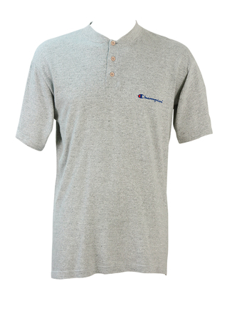 Champion Light Grey Marl T-shirt with 3 Button Neckline - L