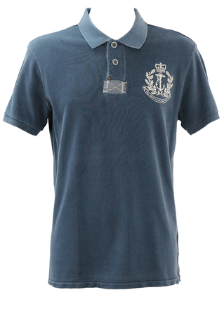 Ralph Lauren Blue Polo Shirt with Cream Embroidery Detail - L