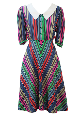 Multicoloured Striped Short Sleeve Midi Dress with Peter Pan Collar Detail - M
