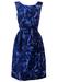 Vintage 1950's Blue Floral Knee Length Wrap Dress - S