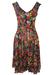 Mariella Burani Floral Silk Midi V Neck Dress with Black Frill Detail - S/M