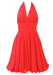 Coral Pink Short Halterneck Chiffon Prom Cocktail Dress with Wired Hem Detail - S