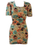 Floral Patterned Short Sleeve Bodycon Mini Dress with Square Neckline - XS/S