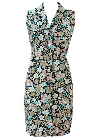 Vintage 60's Floral Patterned Button Front Sleeveless Mini Dress - S
