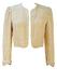 Silk Cream Open Front Crop Jacket with Textured Check Design - S