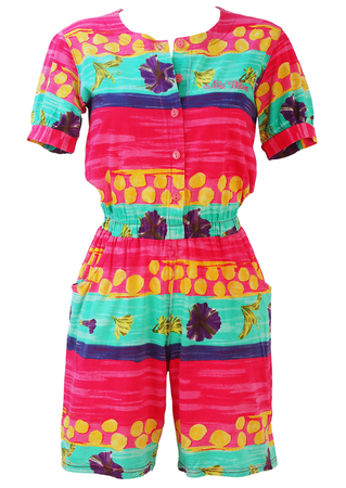 Pink, Turquoise, Purple & Yellow Striped, Floral & Polka Dot Playsuit - S