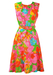 Vintage 70's Sleeveless Midi Belted Dress with Multicoloured Floral Pattern - M