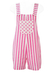 Pink & White Striped Short Dungarees with Polka Dot Pocket - S