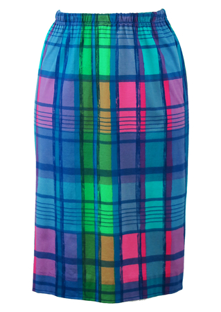 Knee Length Skirt with Pink, Blue & Green Abstract Check Pattern - S/M