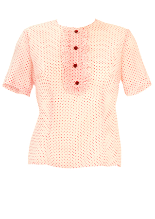 Vintage 60's Short Sleeve Red & White Polka Dot Blouse with Ruffle Bib - M/L