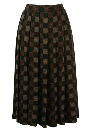 Check Design Pleated Skirt with Metallic Bronze Detail - S