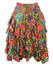 Yellow Knee Length Tiered Ruffle Skirt with Multicoloured Floral Pattern - S
