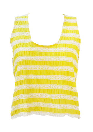 Vintage 60's Striped Yellow & White Lace Sleeveless Top with Scoop Neck - S
