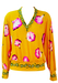 Vintage 80's Yellow Batwing V-neck Top with Pink Floral Pattern - M