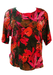 Silk Short Sleeve Top with Multicoloured Abstract Floral Print - M/L
