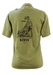 Khaki Green Safari Shirt with Jambo Kenya Cheetah Design Front & Back - M