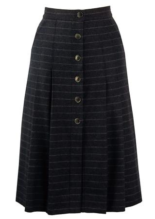 Blue & Grey Chalk Stripe Pleated Skirt - S