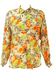 Part Silk Cream Blouse with Orange, Lime Green and Grey Rose Pattern - M/L