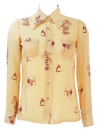 Vintage 70's Beige Blouse with Burgundy Fashion Illustration Sketches - XS/S