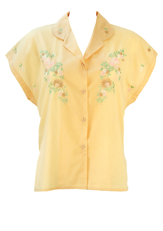 Vintage 50's Soft Peach Short Sleeve Blouse with Floral Embroidery - L