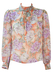 Semi Sheer Striped Blouse with Peach, Purple & Grey Floral Pattern - S/M