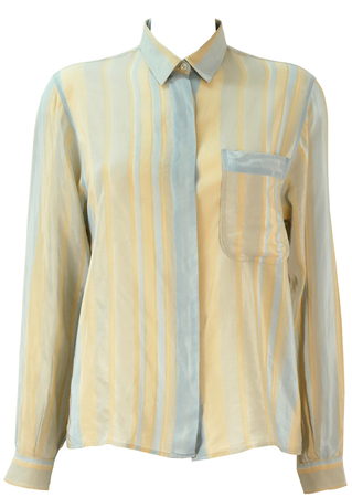 Striped Silk Long Sleeved Blouse in Blue, Cream & Grey - M