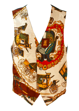 100% Silk Waistcoat with Carriage & Crest Imagery - S/M